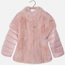 Pink Fur Coat with Removable Sleeves (4481)