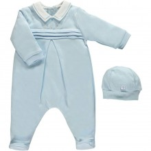 Kieran - Pale Blue Babygrow with Hat