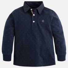Boys Polo with Pattern Detail - Dark Blue (4107)