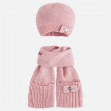 Girls Sparkly Hat and Scarf Set - Pink (10294)