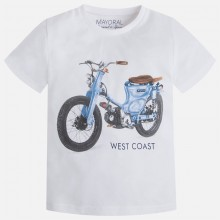 Boys t-shirt motorbike print - white (3019)