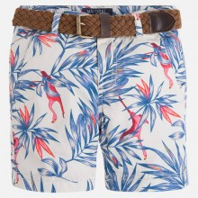 Boys Tropical print shorts with belt (3239)