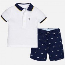 Printed Shorts and Polo Set - Blue (1293)