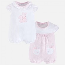 Set of Two Pink Bunny Printed Rompers (1740)
