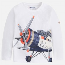 Long Sleeve Plane T-Shirt - White (3095