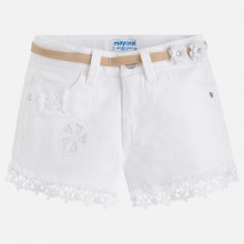 Shorts with Applique Hem - White (3216)
