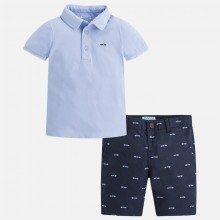 Polo and Bermuda Short Set - Light Blue (3282)