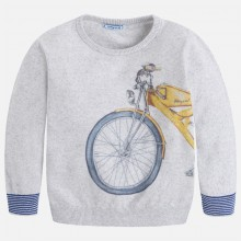 Jumper with Motorcycle Print - Grey (3306)
