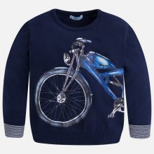 Jumper with Motorcycle Print - Blue (3306)