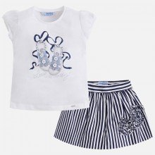 T-shirt and Striped Skirt Set - Navy (3995)