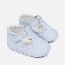 Blue T Bar Pram Shoes (9742)
