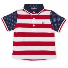 Boys White & Red Stripe Polo top - (2820)