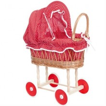 Wicker Dolls Pram - Red and White Dots