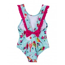 Girls Tropical Bird Ruffle Swimsuit