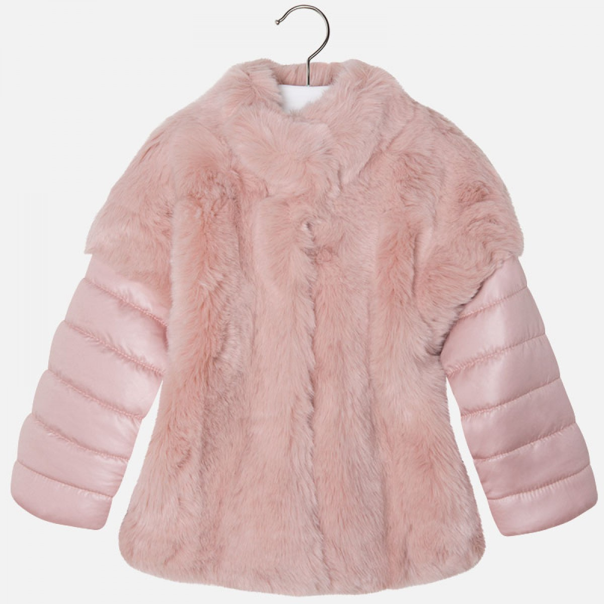 4512d304 Mayoral Pink Fur Coat with Removable Sleeves (4481)
