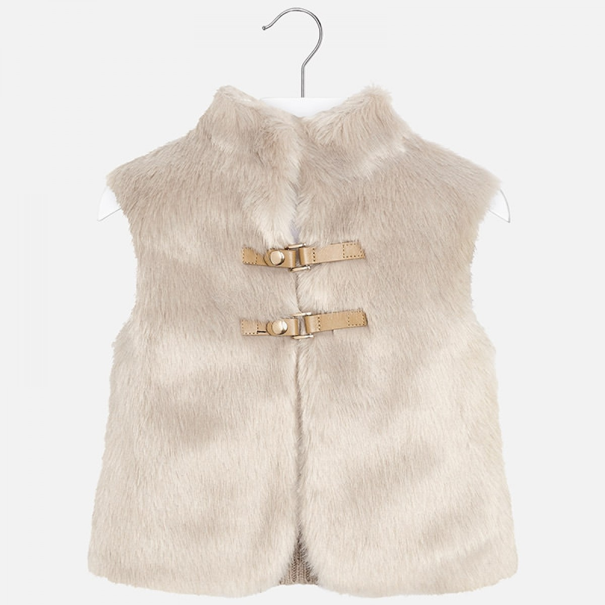 200245a5 Mayoral Girls Fur and Knitted Back Gilet - Stone (4330)