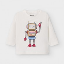 Infant Boys Long Sleeve Robot Top 2040 (Cream)