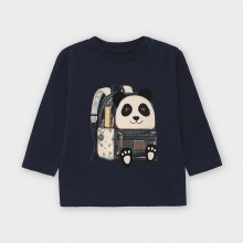 Infant Boys L/S Top with Panda Detail 2042 (Navy)