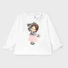 Infant Girls Top with Frill Sleeve Detail 2054 (Cream)