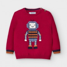 Infant Boys Robot Sweater 2345 (Red)