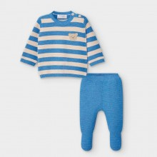 Baby Knitted 2 Piece Set 2554 (Blue/Sand)