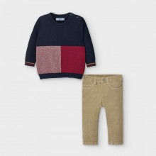 Infant Boys Jumper and Trouser Set 2587 (Navy/Sand)