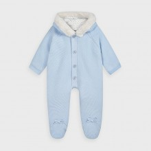 Knitted Pramsuit with Faux Fur Trim 2631 (Pale Blue)