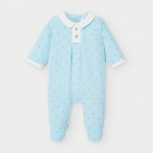 Babygrow with Collar and Star Buttons 2765 (Pale Blue)
