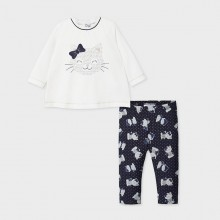 Infant Girls Kitten Legging Set 2794 (Navy)