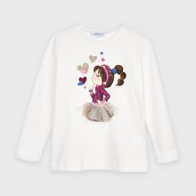Girls Long Sleeve Printed Top 4070 (Cream)