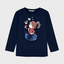 Girls Long Sleeve Printed Top 4070 (Navy)