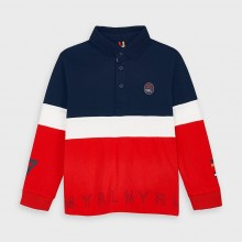 Boys Long Sleeve Polo Top 4129 (Navy/Red)
