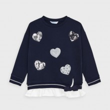 Girls Sweater with Heart and Frill Detail 4401 (Navy)