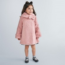 Girls Coat with Faux Fur Collar 4411 (Pink)