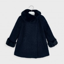 Girls Coat with Faux Fur Collar 4411- Navy