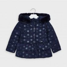 Girls Polka Dot Print Coat 4412(Navy)