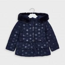 Girls Polka Dot Print Coat 4412(Navy)