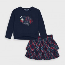 Girls Tartan Top and Skirt Set 4992 (Navy/Red)