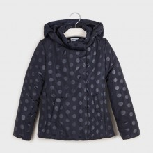 Girls Polka Dot Print Coat 7417 (Navy)