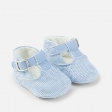 Boys Knitted Shoes with Buckle -Pale blue (9625)