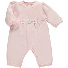Keela - Pink Babygrow with Hand Crochet Flowers (1705)