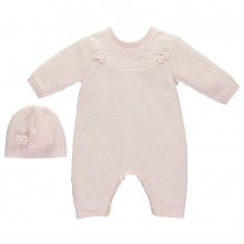 Luna - Pink True knit Baby grow with bow detail