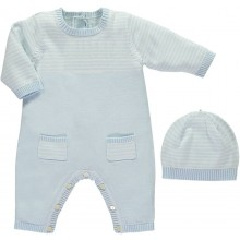 Leo - Pale Blue Babygrow with Stripe Upper & Pockets With Hat