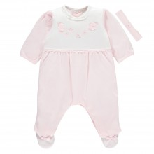 Nigella - Pink Babygrow with Flower Detail