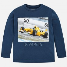 Long Sleeved Racing Car T-Shirt - Blue (4024)