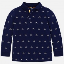 Long Sleeve Motorbike Polo Top - Navy (4104)