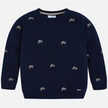 Knitted Motorbike Jumper - Navy (4306)