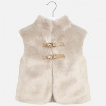 Girls Fur and Knitted Back Gilet - Stone  (4330)