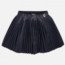 Pleated Leatherette Skirt - Navy (4922)