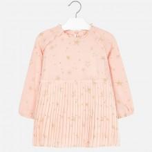 Pleated Star Print Dress - Pale Pink (4966)